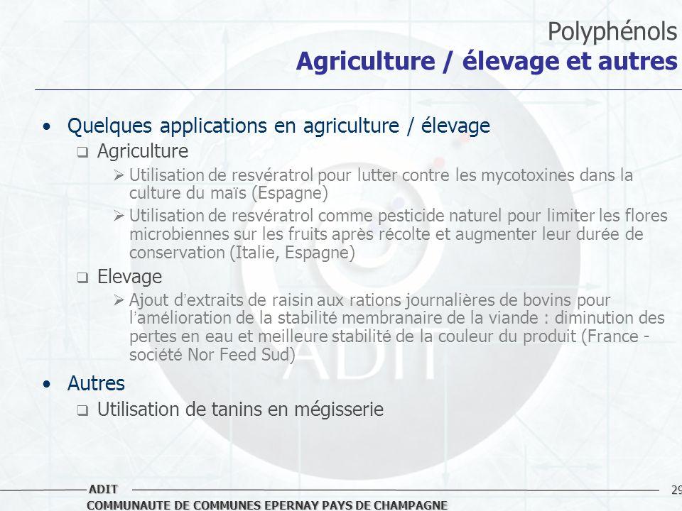 Polyphénols Agriculture / élevage et autres