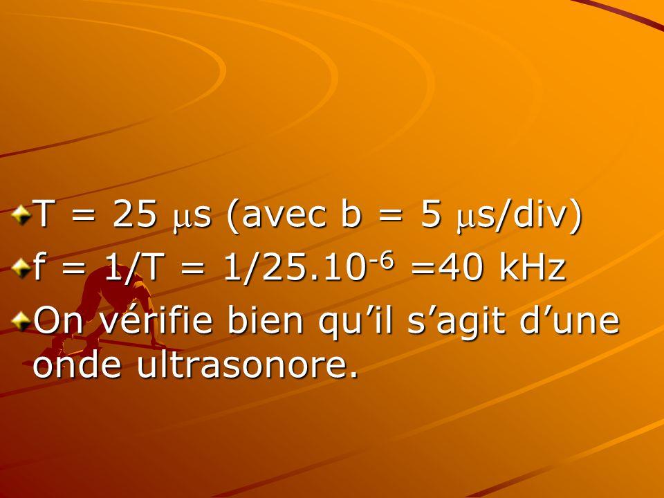 T = 25 s (avec b = 5 s/div) f = 1/T = 1/25.10-6 =40 kHz.