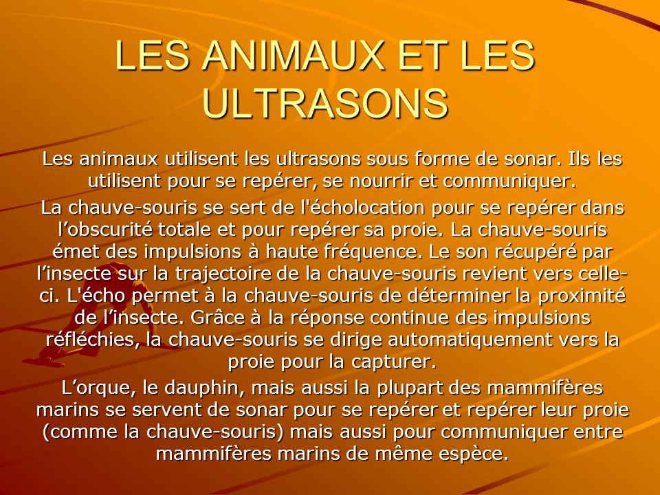 LES ANIMAUX ET LES ULTRASONS