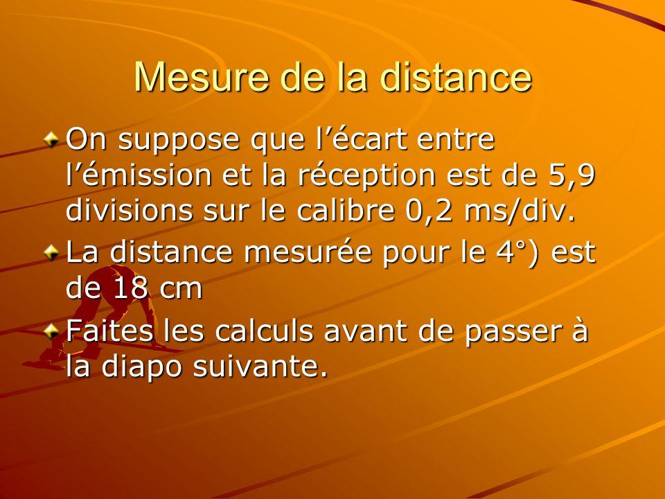 Mesure de la distance On suppose que l'écart entre l'émission et la réception est de 5,9 divisions sur le calibre 0,2 ms/div.