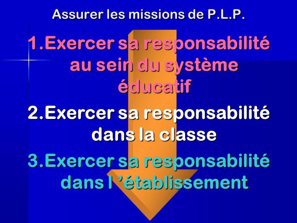 Assurer les missions de P.L.P.