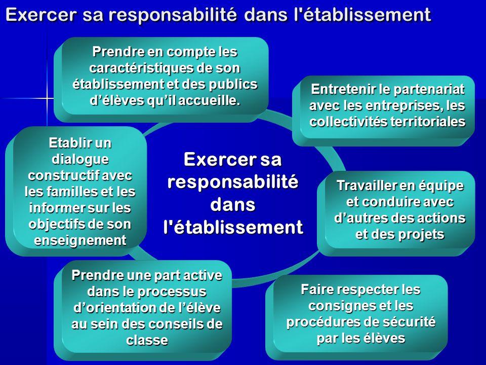 Exercer sa responsabilité dans l établissement