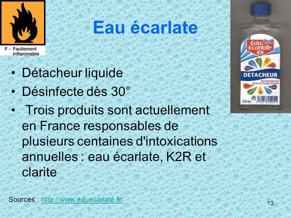 Eau écarlate Détacheur liquide Désinfecte dès 30°