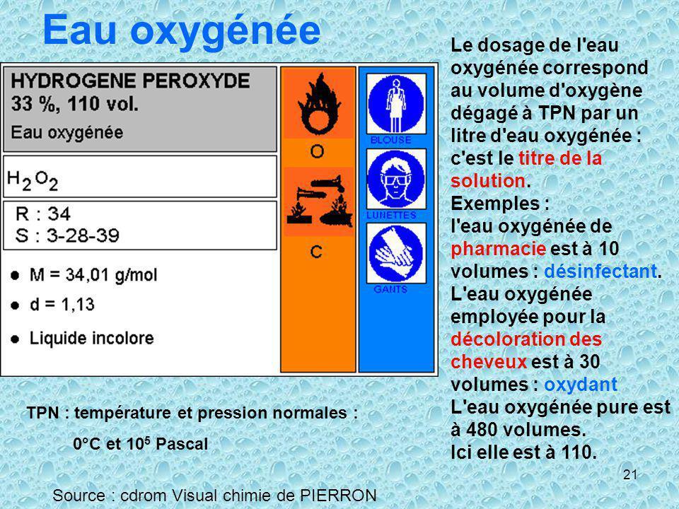 Eau oxygénée Le dosage de l eau oxygénée correspond au volume d oxygène dégagé à TPN par un litre d eau oxygénée : c est le titre de la solution.
