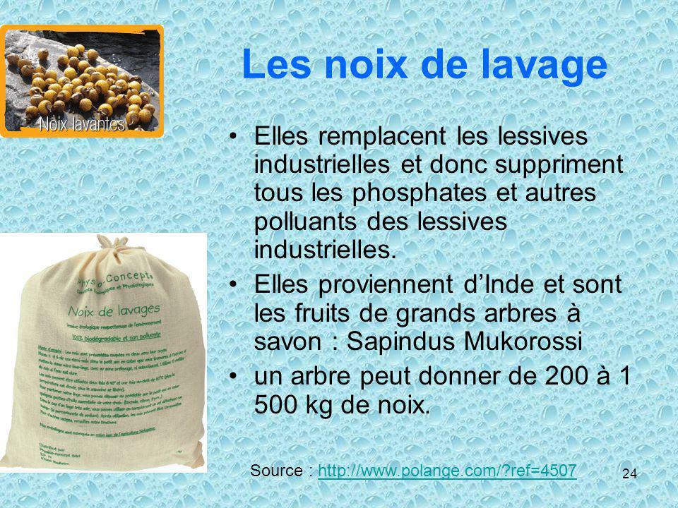 Les noix de lavage Elles remplacent les lessives industrielles et donc suppriment tous les phosphates et autres polluants des lessives industrielles.