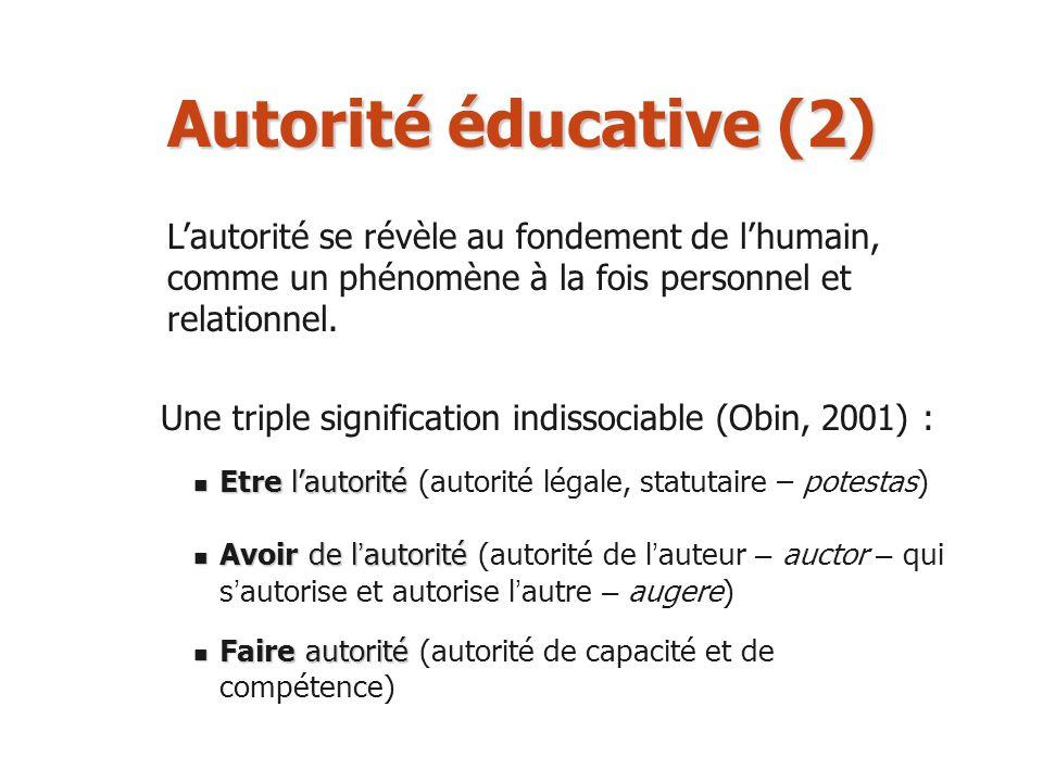 Autorité éducative (2) L'autorité se révèle au fondement de l'humain, comme un phénomène à la fois personnel et relationnel.