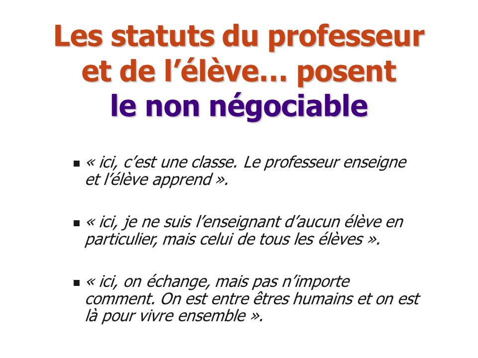 Les statuts du professeur et de l'élève… posent le non négociable