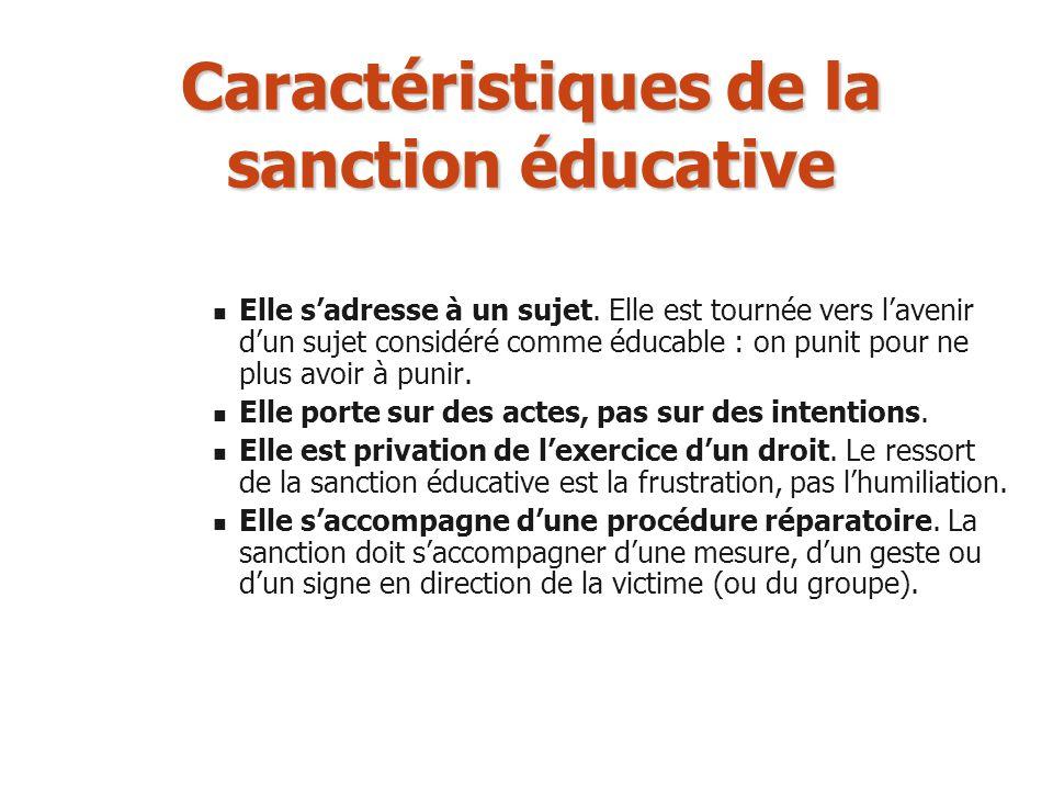 Caractéristiques de la sanction éducative