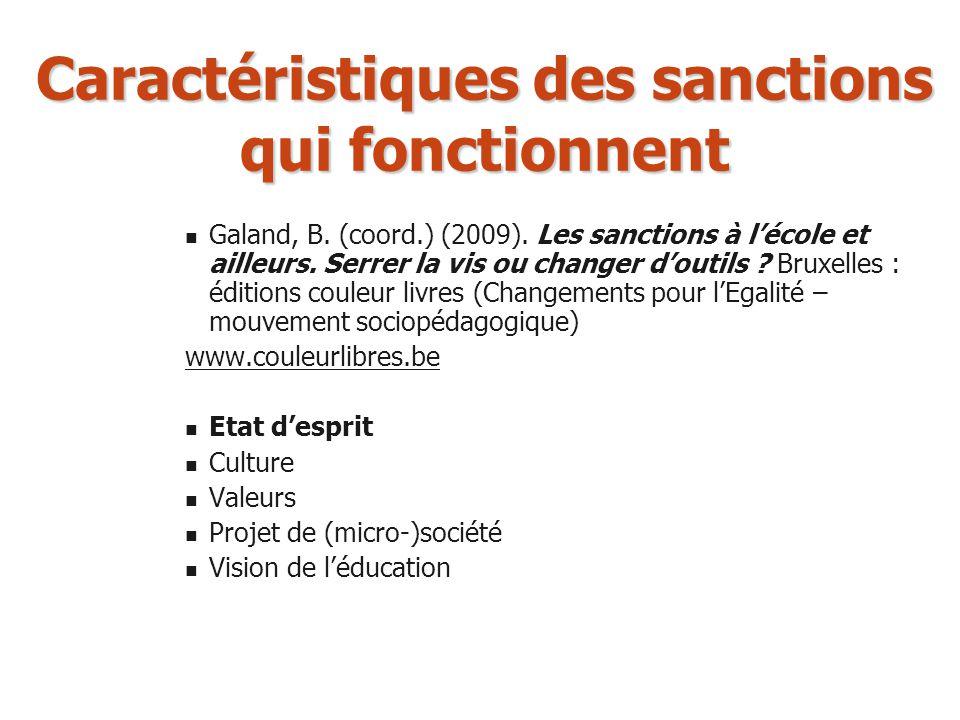 Caractéristiques des sanctions qui fonctionnent