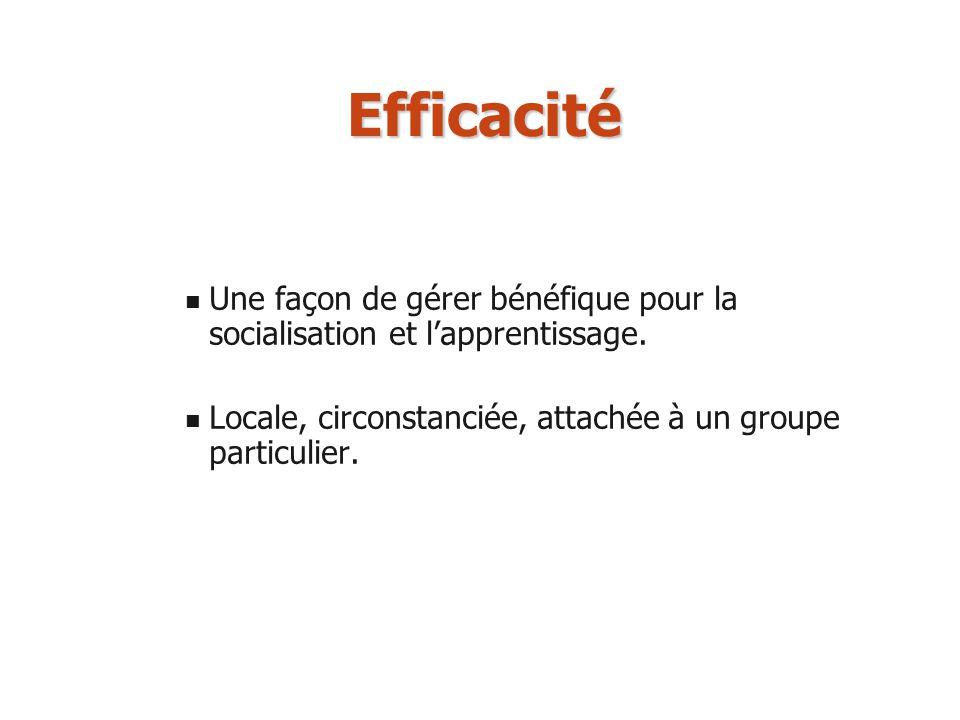 Efficacité Une façon de gérer bénéfique pour la socialisation et l'apprentissage.