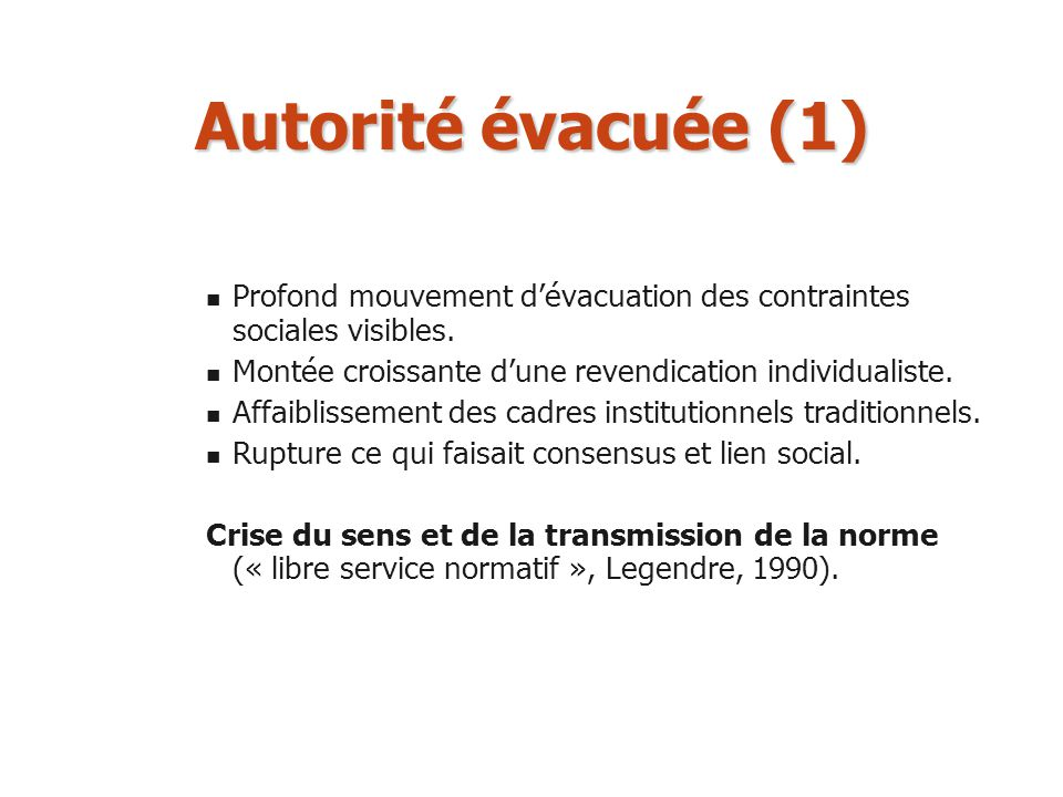 Autorité évacuée (1) Profond mouvement d'évacuation des contraintes sociales visibles. Montée croissante d'une revendication individualiste.