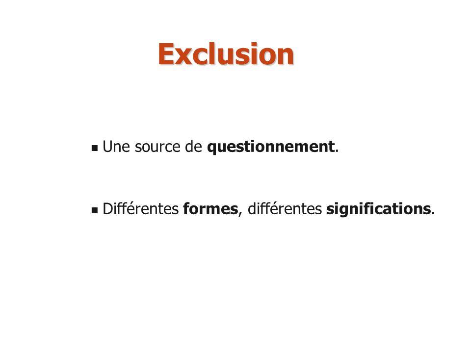 Exclusion Une source de questionnement.