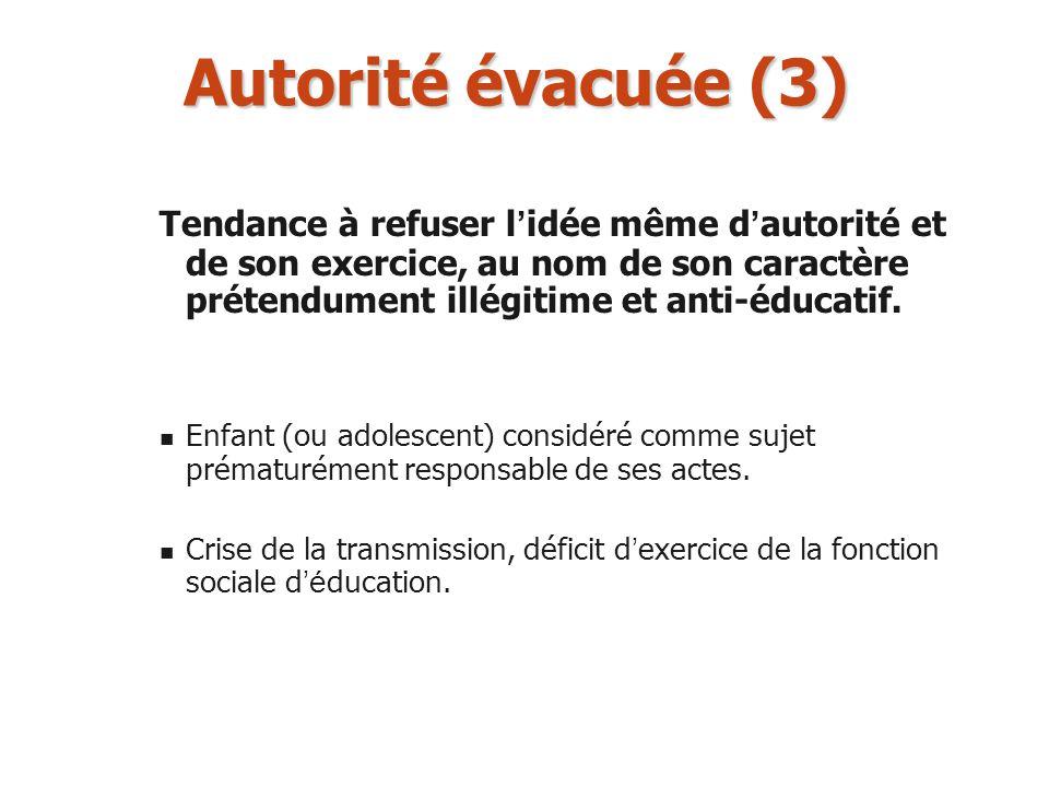 Autorité évacuée (3) Tendance à refuser l'idée même d'autorité et de son exercice, au nom de son caractère prétendument illégitime et anti-éducatif.