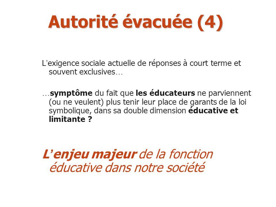 Autorité évacuée (4) L'exigence sociale actuelle de réponses à court terme et souvent exclusives…