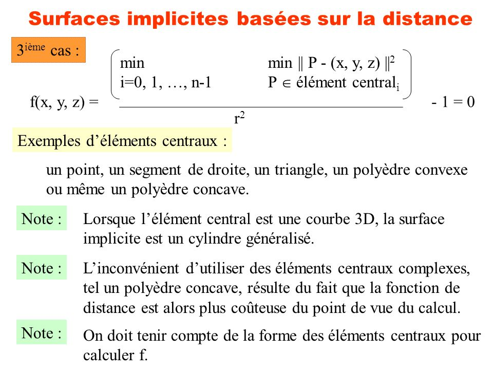 Surfaces implicites basées sur la distance