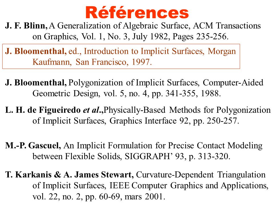 Références J. F. Blinn, A Generalization of Algebraic Surface, ACM Transactions. on Graphics, Vol. 1, No. 3, July 1982, Pages 235-256.