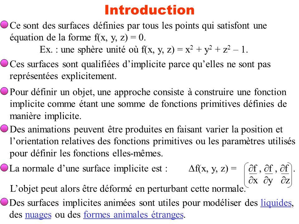 Introduction Ce sont des surfaces définies par tous les points qui satisfont une. équation de la forme f(x, y, z) = 0.