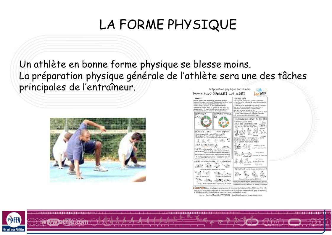 LA FORME PHYSIQUE Un athlète en bonne forme physique se blesse moins.