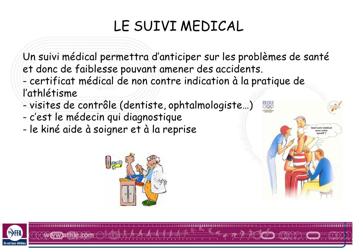 LE SUIVI MEDICALUn suivi médical permettra d'anticiper sur les problèmes de santé et donc de faiblesse pouvant amener des accidents.