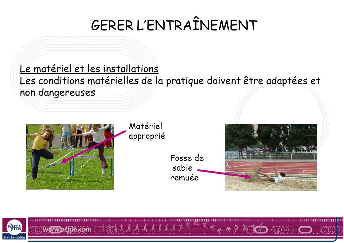 GERER L'ENTRAÎNEMENT Le matériel et les installations