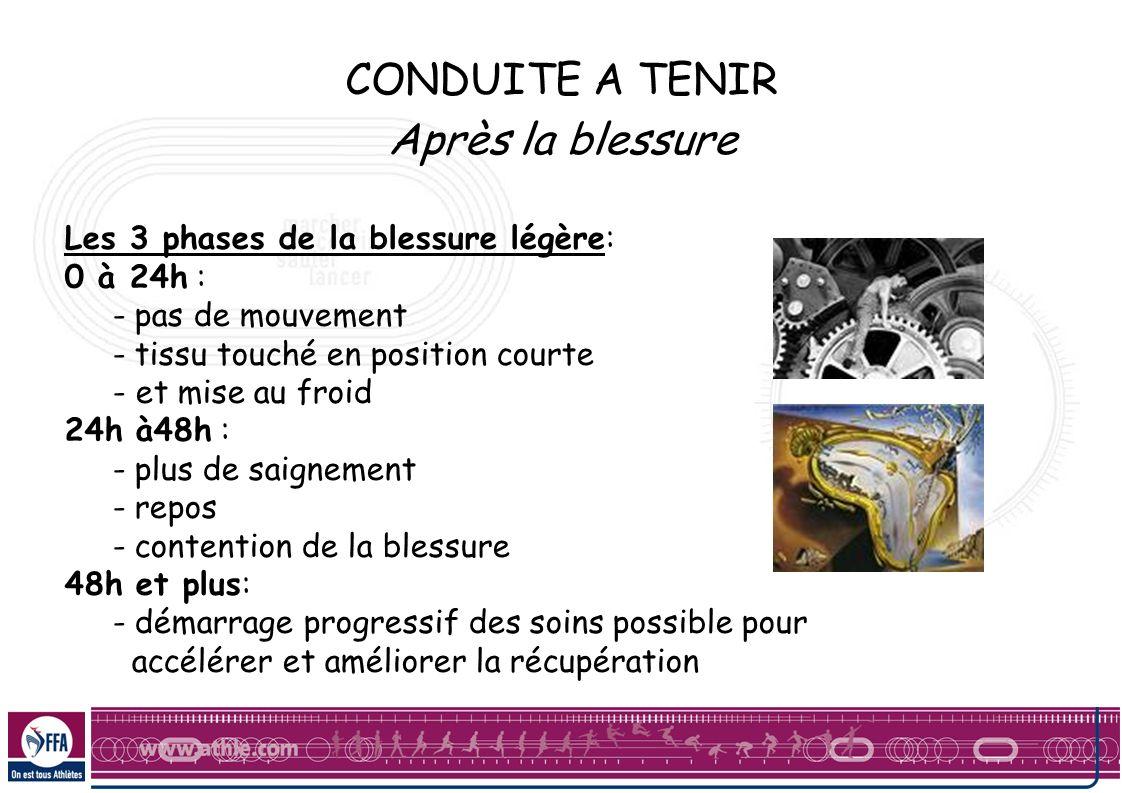 CONDUITE A TENIR Après la blessure Les 3 phases de la blessure légère: