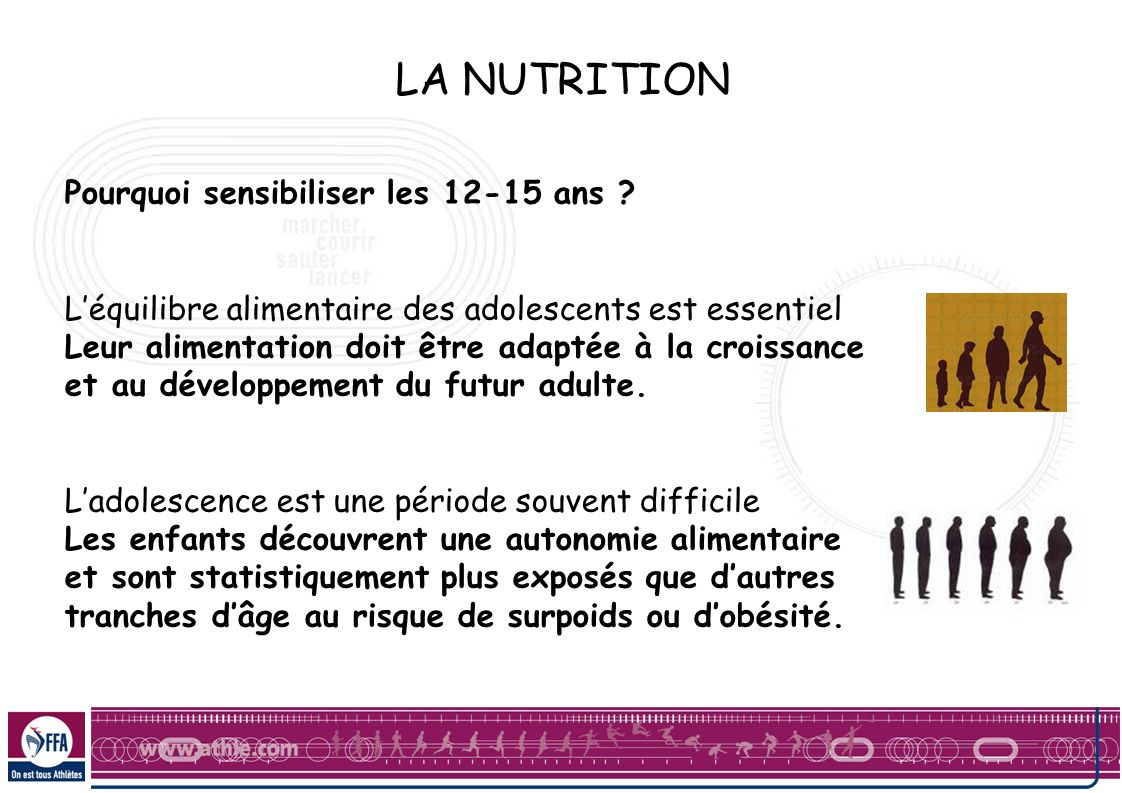 LA NUTRITION Pourquoi sensibiliser les 12-15 ans