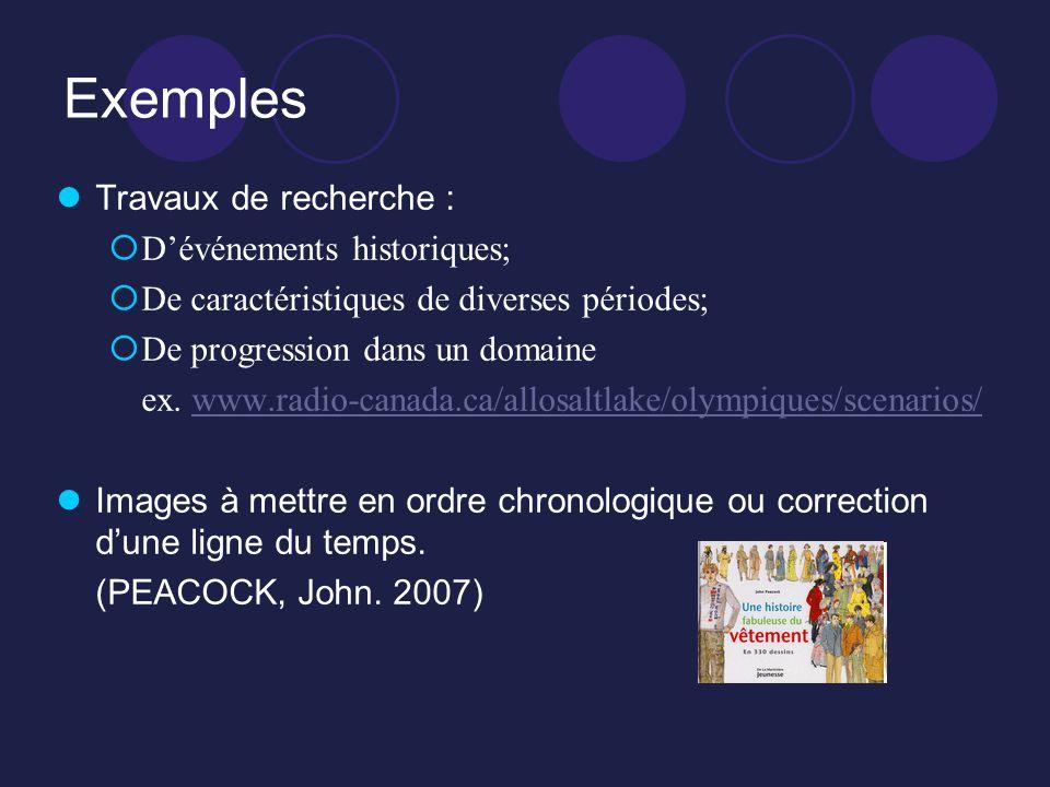 Exemples Travaux de recherche : D'événements historiques;