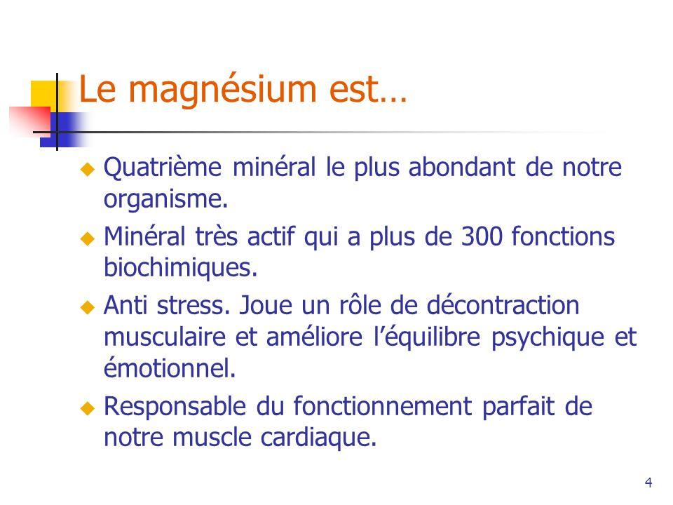 Le magnésium est… Quatrième minéral le plus abondant de notre organisme. Minéral très actif qui a plus de 300 fonctions biochimiques.