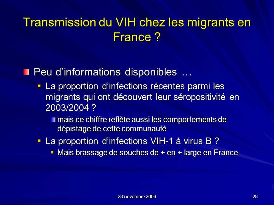 Transmission du VIH chez les migrants en France