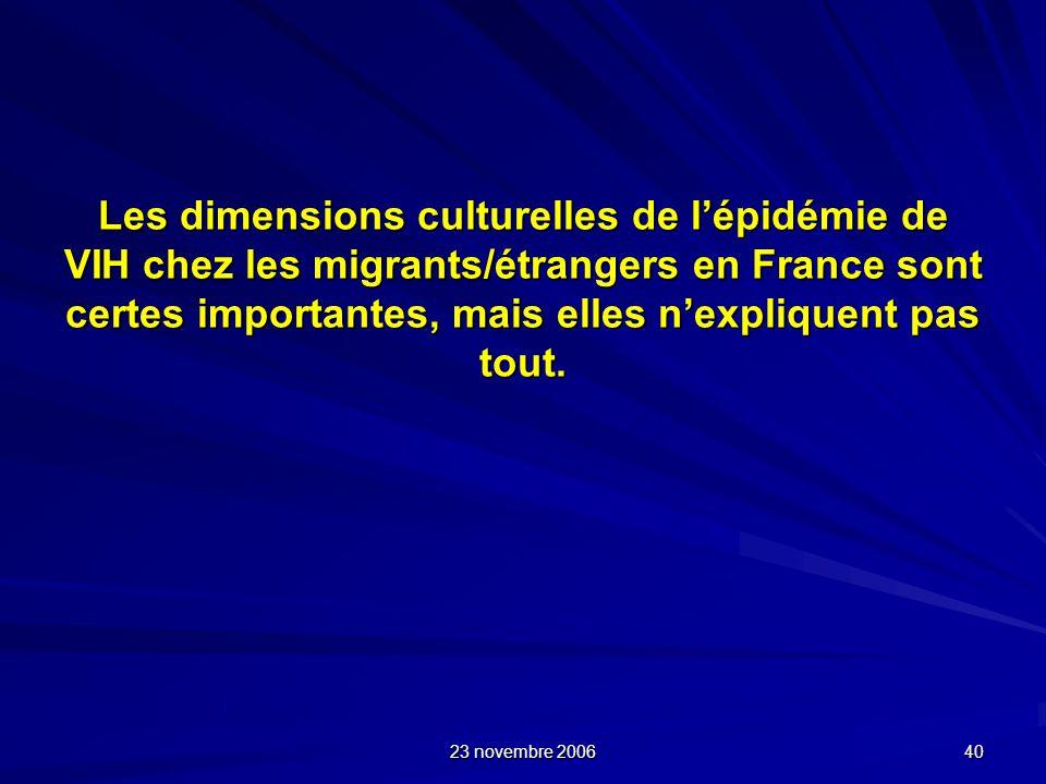Les dimensions culturelles de l'épidémie de VIH chez les migrants/étrangers en France sont certes importantes, mais elles n'expliquent pas tout.