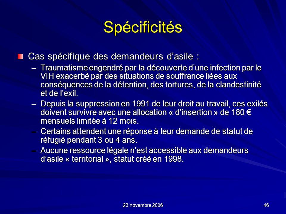 Spécificités Cas spécifique des demandeurs d'asile :