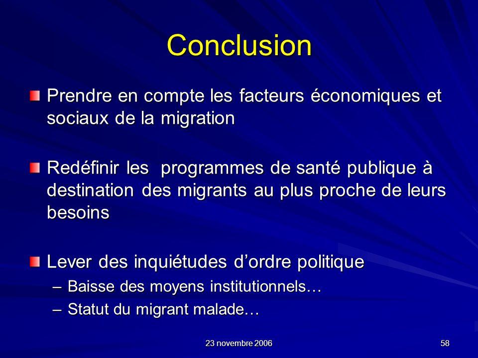 Conclusion Prendre en compte les facteurs économiques et sociaux de la migration.
