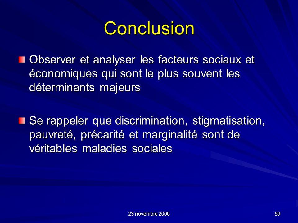 Conclusion Observer et analyser les facteurs sociaux et économiques qui sont le plus souvent les déterminants majeurs.