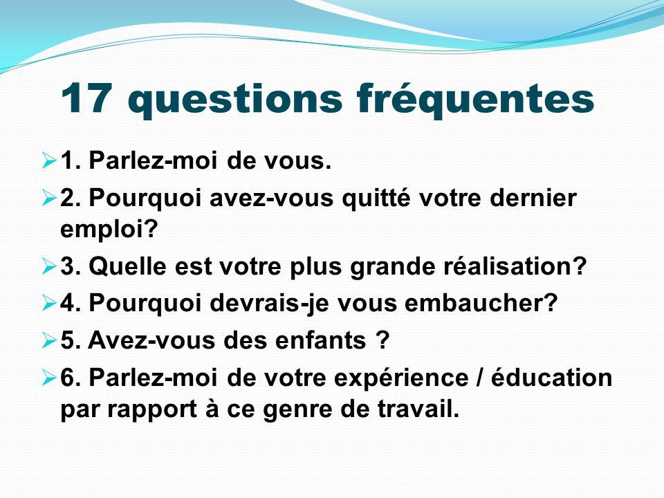 17 questions fréquentes 1. Parlez-moi de vous.