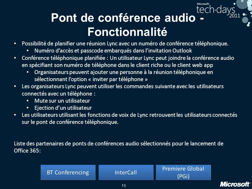 Pont de conférence audio - Fonctionnalité