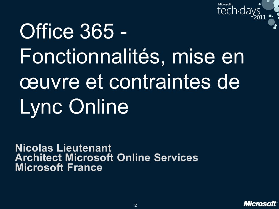 Office 365 - Fonctionnalités, mise en œuvre et contraintes de Lync Online