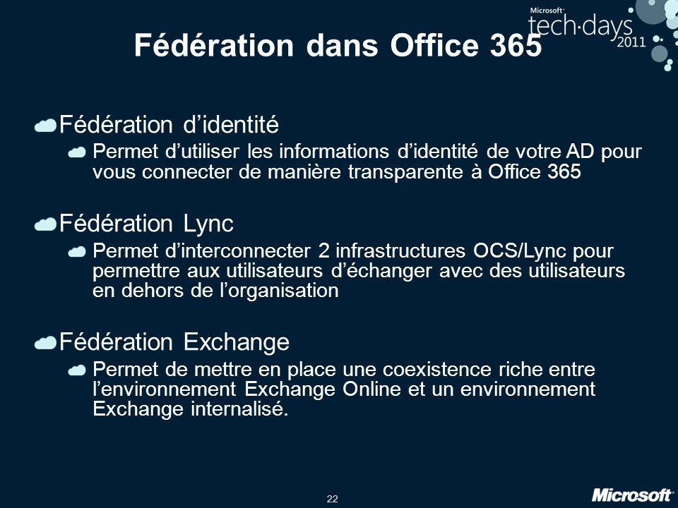 Fédération dans Office 365