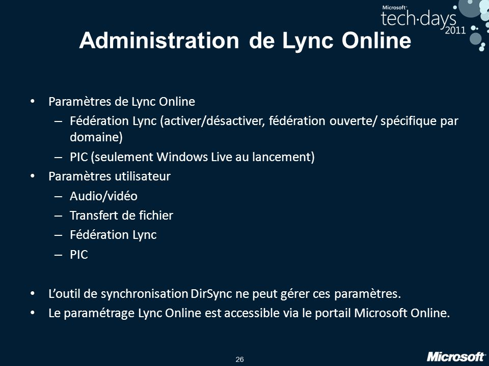 Administration de Lync Online