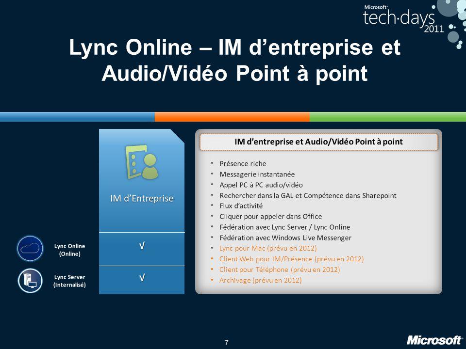 Lync Online – IM d'entreprise et Audio/Vidéo Point à point