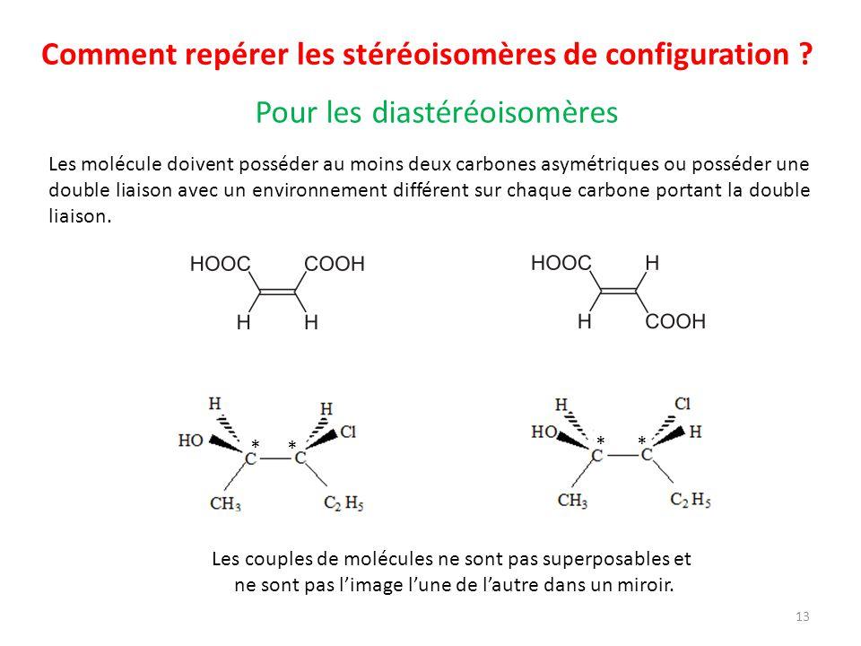 Comment repérer les stéréoisomères de configuration