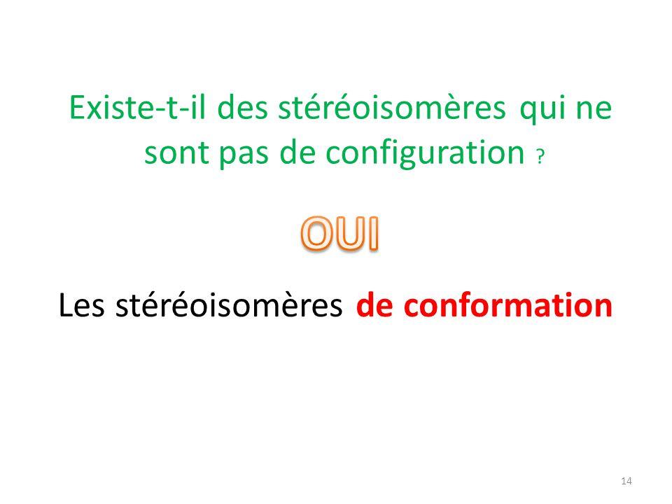 OUI Existe-t-il des stéréoisomères qui ne sont pas de configuration