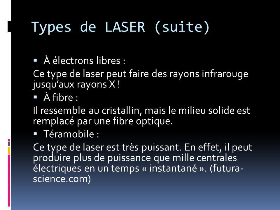 Types de LASER (suite) À électrons libres :