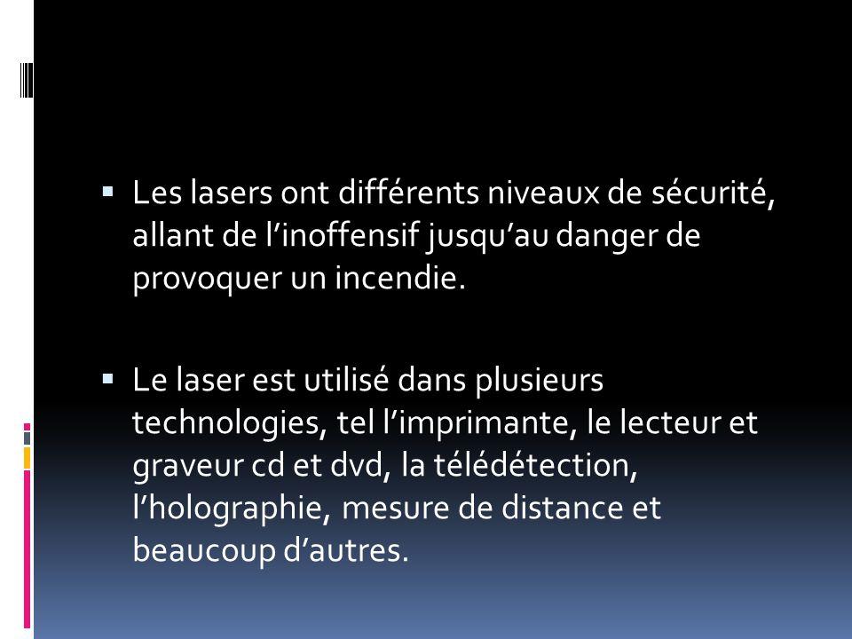 Les lasers ont différents niveaux de sécurité, allant de l'inoffensif jusqu'au danger de provoquer un incendie.