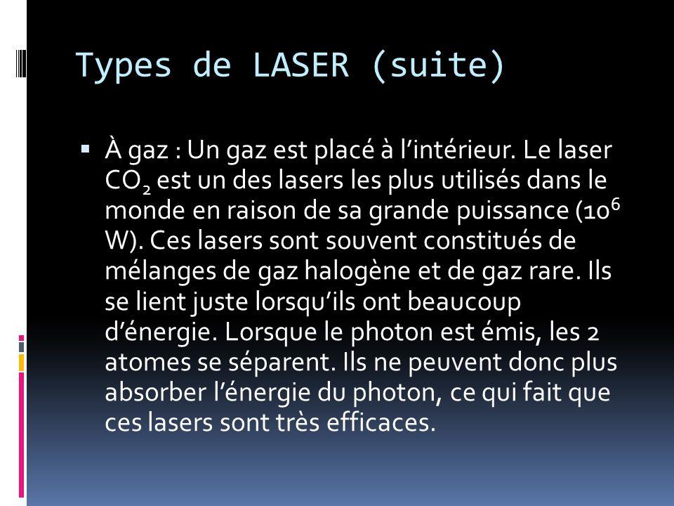 Types de LASER (suite)