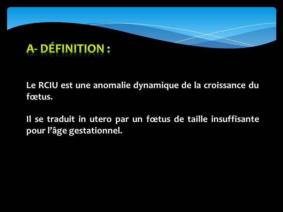 A- Définition : Le RCIU est une anomalie dynamique de la croissance du fœtus.