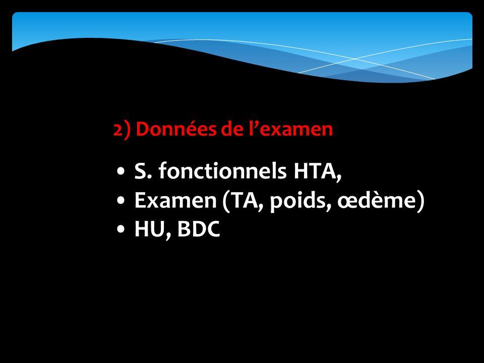 • Examen (TA, poids, œdème) • HU, BDC