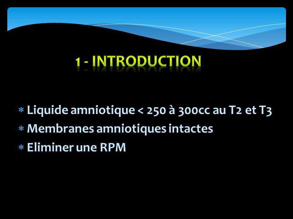1 - INTRODUCTION Liquide amniotique < 250 à 300cc au T2 et T3