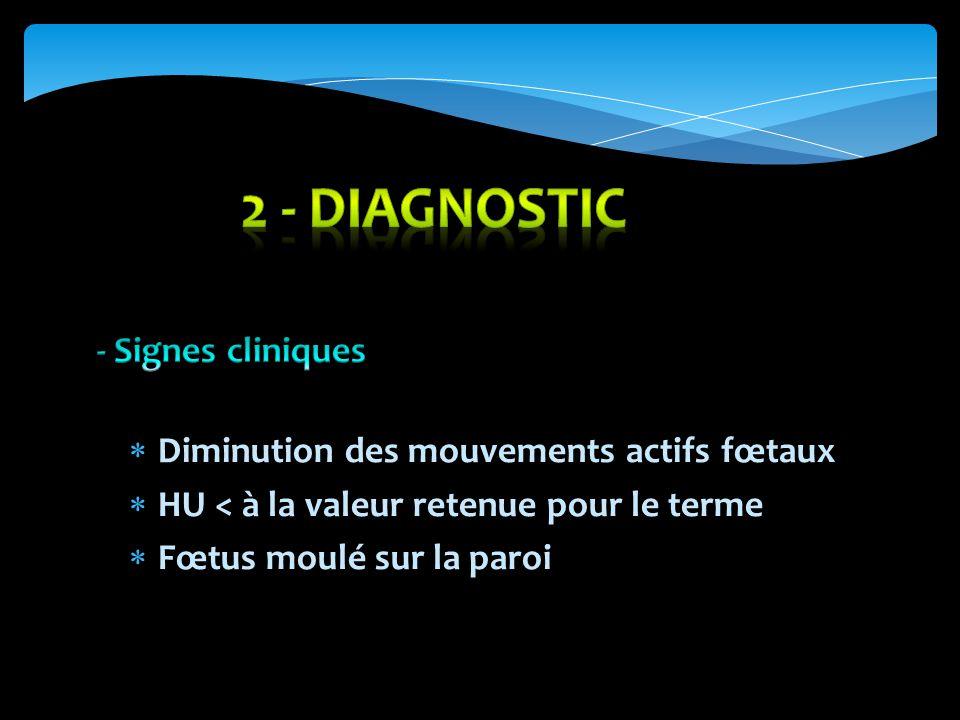 2 - DIAGNOSTIC - Signes cliniques