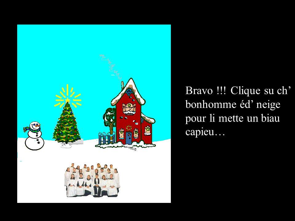 Bravo !!! Clique su ch' bonhomme éd' neige pour li mette un biau capieu…