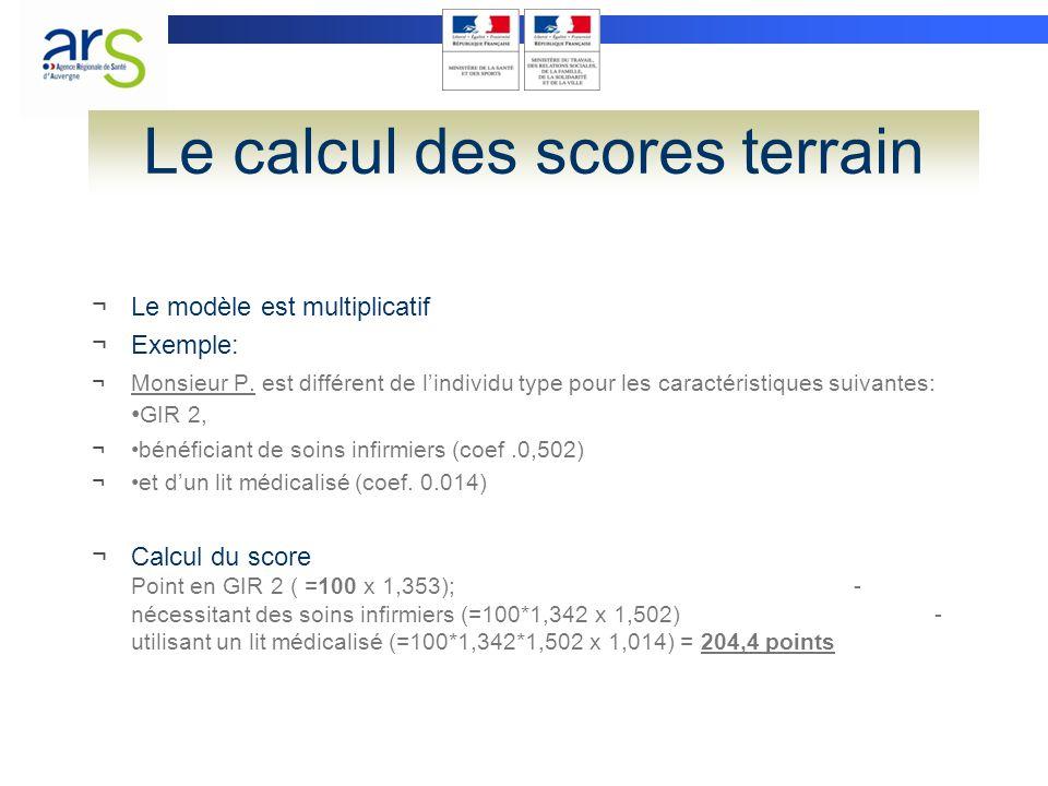 Le calcul des scores terrain